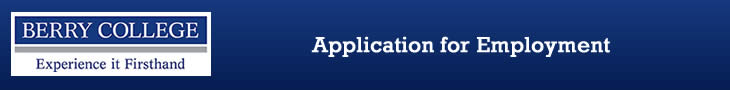 Berry College Employment Application